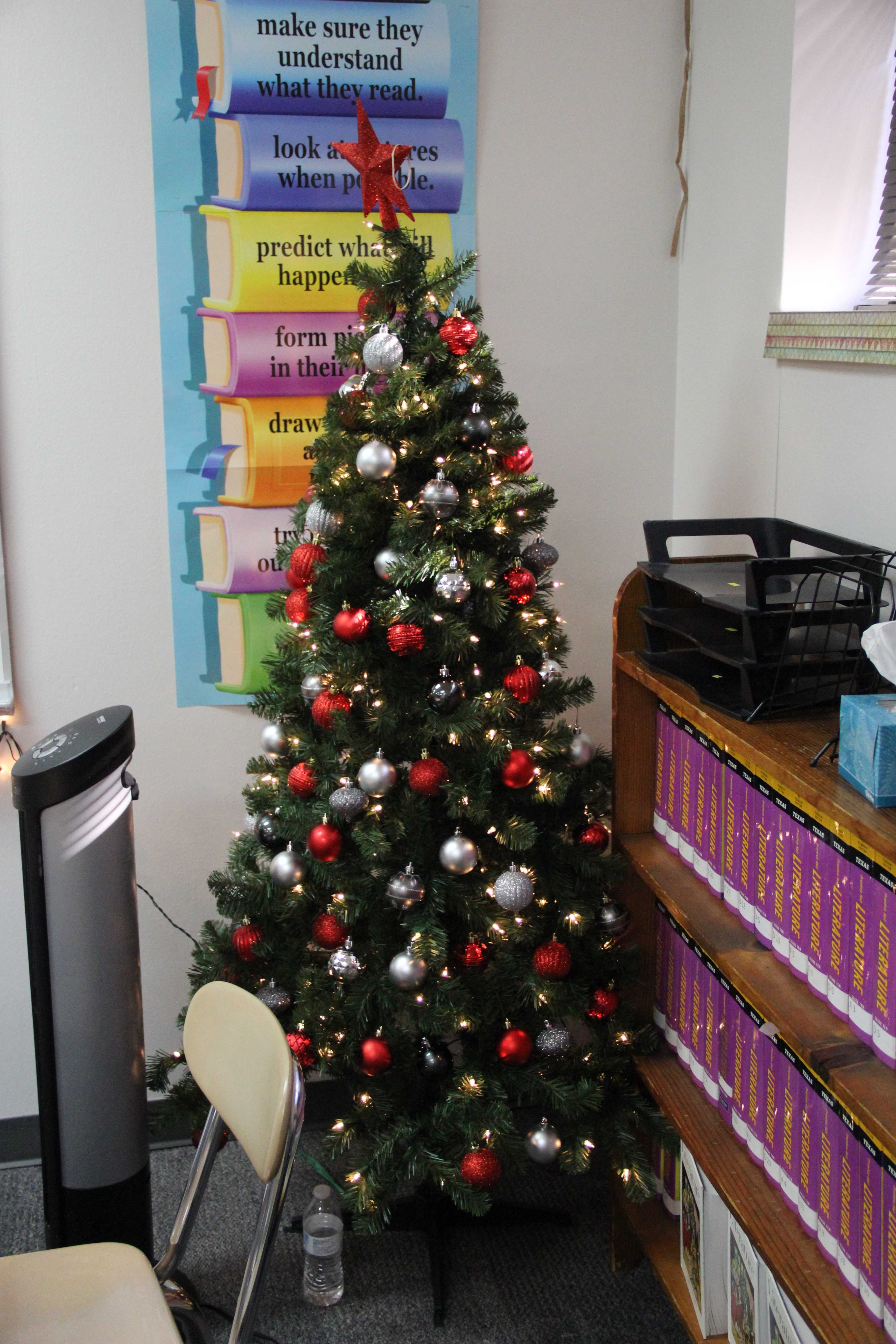 Coppell High School GT English II teacher Amelia Antillon decorates her classroom all out to spread the Christmas spirit. She really enjoys Christmas and the holidays and plans to spend time with family and friends.