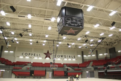 Coppell High School's new arena, complete with a videoboard/scoreboard, seats surrounding the entire your and bucket seats on the upper level, is nearing completion. The arena is expected to be finished around the week of Feb. 5.