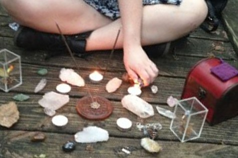 Eric Delatorre and fellow Wiccan Olivia Martin Spinner spend time practicing spells outside one afternoon. Photo courtesy of Eric Delatorre