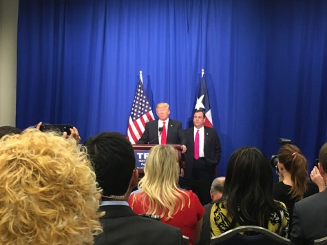 Donald Trump announcing the endorsement of New Jersey governor Chris Christie at a press conference prior to his Fort Worth rally on Friday. Photo by Nicolas Henderson.