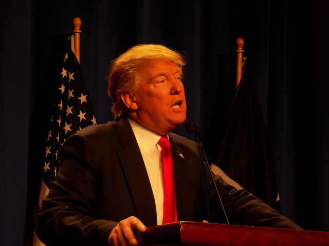 Donald Trump addressing supporters at his Fort Worth rally on Friday. Trump focused his speech on his ideas to