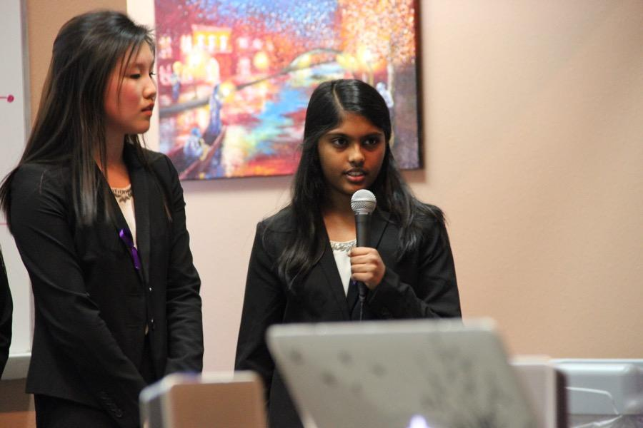 Coppell+High+School+sophomore+Priya+Mekala+briefly+relates+her+experiences+with+those+diagnosed+with+Alzheimer%E2%80%99s+disease+in+the+lecture+hall+on+Monday.+Mekala+is+in+HOSA+and+is+presenting+a+public+service+announcement+to+bring+more+awareness+for+the+Alzheimer%E2%80%99s+disease.