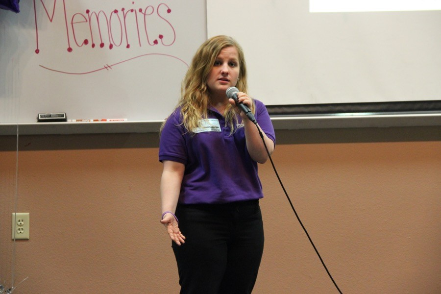 Representative of the Alzheimer's Association Katherine Campbell introduces herself for the Alzheimer's Awareness event on Monday at the lecture hall. Alzheimer's is one of the top 10 leading causes of death and is the only one without a cure.