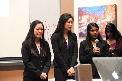 Coppell High School sophomore Priya Mekala briefly relates her experiences with those diagnosed with Alzheimer's disease in the lecture hall on Monday. Mekala is in HOSA and is presenting a public service announcement to bring more awareness for the Alzheimer's disease. Photo by Jennifer Su.