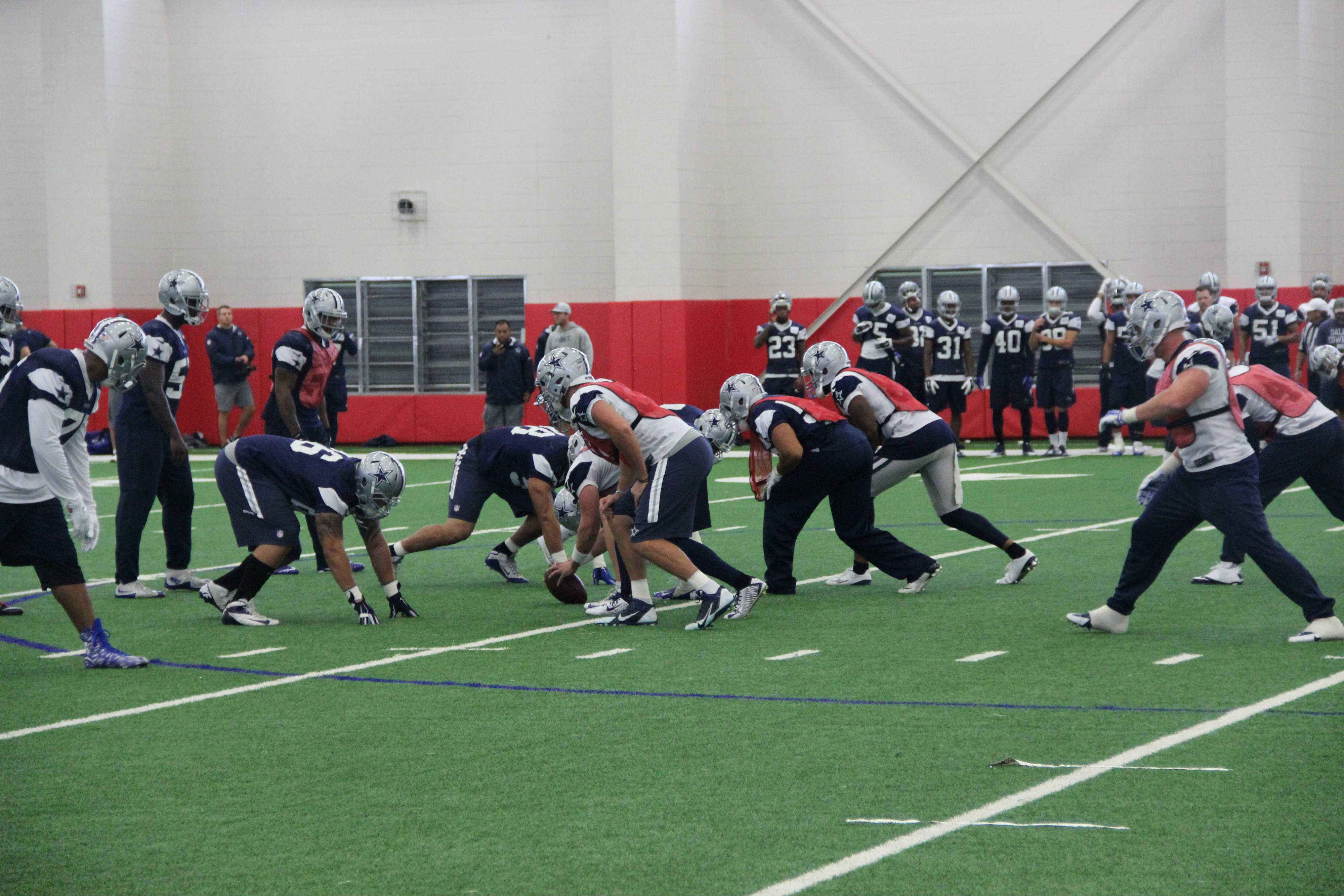 The Dallas Cowboys have a special teams practice in the Coppell turf room this October. Photo by Mallorie Munoz.