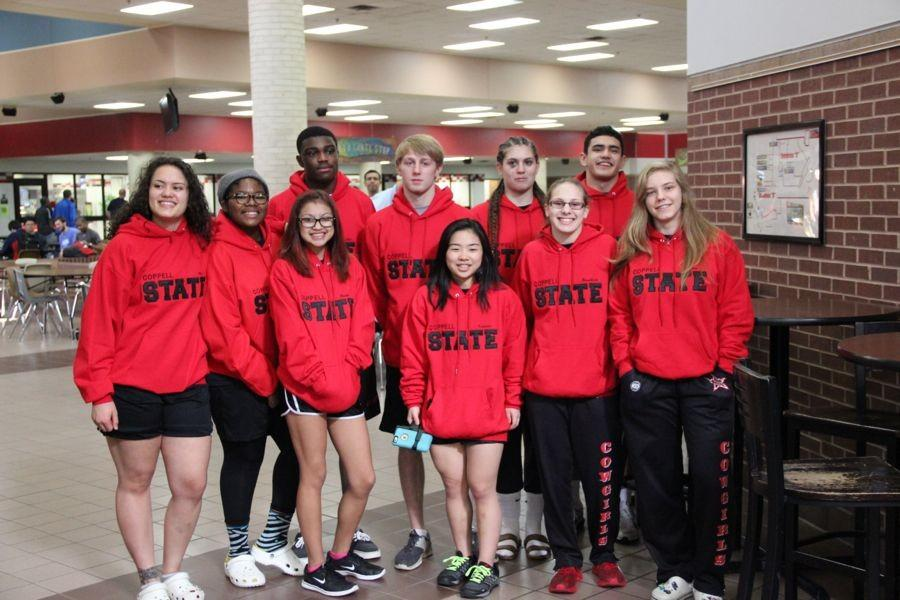 Coppell High School wrestling state finalists are recognized with a campus sendoff on Thursday in the main hallway. The UIL State Wrestling Tournament is tomorrow and Saturday at the Cypress-Fairbanks ISD's Berry Center.