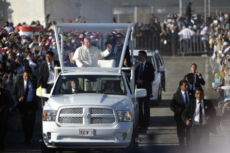 Pope Francis arrives for afternoon mass in Juarez, Mexico, on Wednesday, Feb. 17, 2016. (Max Faulkner/Fort Worth Star-Telegram/TNS)