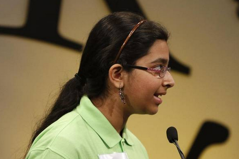 """Smrithi Upadhyayula, a eighth grader at CMSW (Coppell Middle School West), has been competing in spelling bee's since second grade and reached the National Scripps Bee last year for the first time. Her mother, Padmini Upadhyayula, said her favorite moment was, """"...when she threw her hands up in the air and screamed 'Yes ', after spelling the Championship Word in last year's Dallas Morning New Regional Spelling Bee."""" Photo courtesy Smrithi Upadhyayula"""