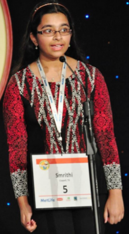 After winning the Regional title July 2014 in Dallas, Upadhyayula was awarded an all-expenses-paid trip to compete at the South Asian Spelling Bee nationals in New Jersey. Last year, she even reached the National Scripps Bee and hopes to match her performance this year since it will be her last year competing. Photo courtesy Smrithi Upadhyayula