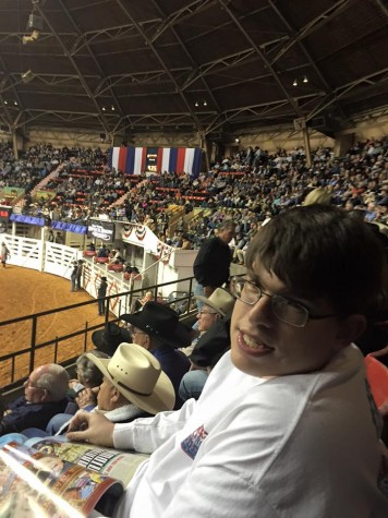 "Thomas ""Big T"" Ratliff and his parents enjoyed a rodeo show at the Fort Worth Stockyards in January."