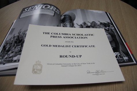 The Round-Up, Coppell High School's yearbook received the Gold Crown from the Columbia Scholastic Press for its 2014-2015 edition