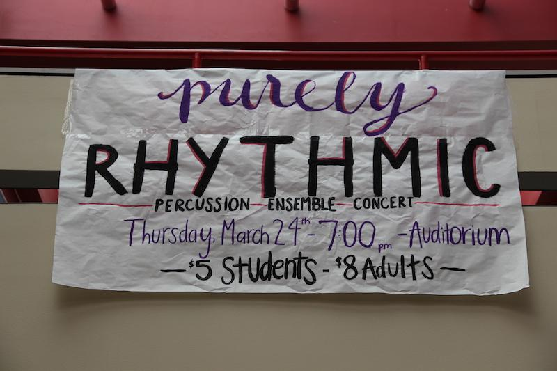 A+sign+on+the+senior+bridge+advertises+the+upcoming+percussion+ensemble+concert%2C+Purely+Rhythmic.+The+CHS+percussion+members+will+perform+in+the+auditorium+this+Thursday+at+7+p.m.+Photo+by+Kelly+Monaghan.