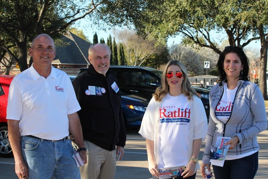 Coppell+citizens+campaign+for+Bennett+Ratliff+for+State+Representative+outside+of+Coppell+City+Hall+on+March+1%2C+also+known+as+%E2%80%9CSuper+Tuesday.%E2%80%9D+Coppell+had+many+voting+locations+including+Coppell+City+Hall%2C+Cottonwood+Creek+Elementary+School+and+Coppell+Bible+Fellowship+Church.+Photo+by+Kelly+Monaghan.