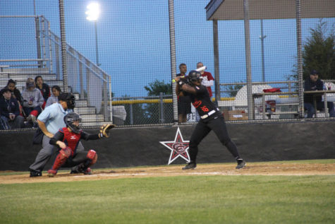 Senior first baseman Autumn Redmon gets ready to swing in the third inning of last night's 13-11 loss to the Lady Rebels. Redmon went 3-for-4 with two singles and a double. Photo by Ale Ceniceros.