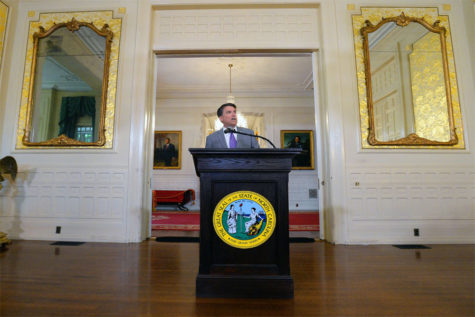 N.C. Gov. Pat McCrory speaks to the media Monday, May 9, 2016. He was announcing he has filed a lawsuit asking a federal court to determine that the controversial House Bill 2 is not illegally discriminatory. (Chuck Liddy/Raleigh News & Observer/TNS)