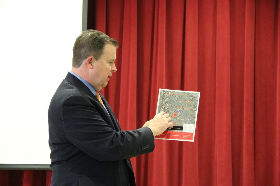 Coppell ISD Superintendent Brad Hunt presents bond plans to parents at New Tech High @ Coppell. Hunt informs CSM about Canyon Ranch Elementary school, large scale renovations, and drug exposure facing the students in the district currently.