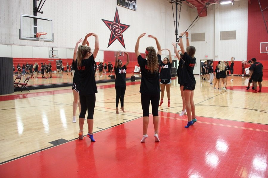 Coppell+High+School+sophomore+Kaitlyn+Glover+practices+her+ballet+skills+before+performing+in+front+of+the+Dance+I+class%2C+taught+by+Julie+Stralow+and+Hayley+Mitchell%2C+last+Wednesday+during+third+period.+The+dance+students+are+required+to+prepare+for+their+dance+on+Friday.+