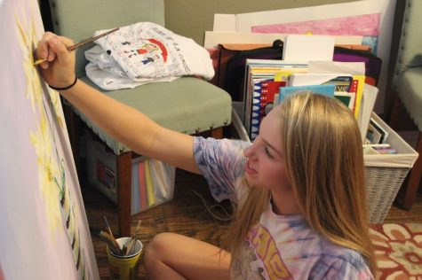 Coppell High School junior Izzy Hall spends her free afternoons working on her artwork which she hopes to sell after it is completed. Hall has started her own business freshman year when people began to demand her work.