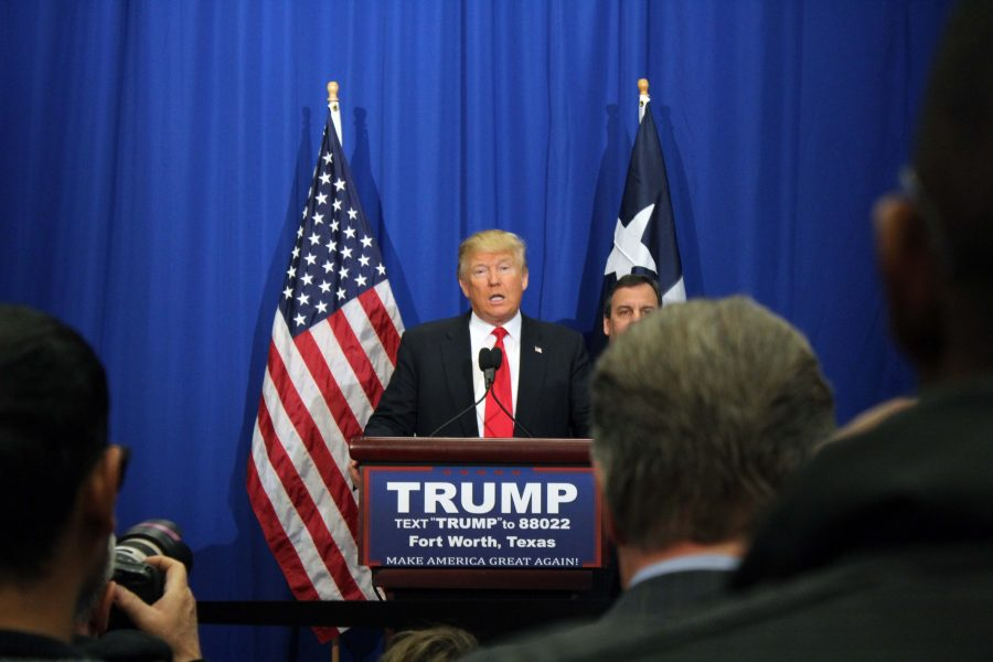 Republican Presidential nominee Donald Trump speaks in Fort Worth during a press conference in March. Photo by Thomas Rousseau.
