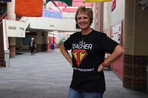 "Coppell High School AP calculus teacher Jan Bourg wears her ""I'm a Teacher"" superhero shirt for superhero day. All of the CHS calculus teachers wore the same shirt on Tuesday, which was the second day of spirit week at CHS."