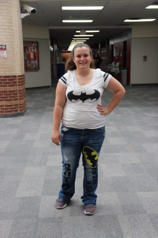 Coppell High School freshmen Trinity Jones goes all out for superhero day on Tuesday, wearing Batman jeans and shirt. All students and teachers were encouraged to participate in spirit week in honor of homecoming week at CHS.