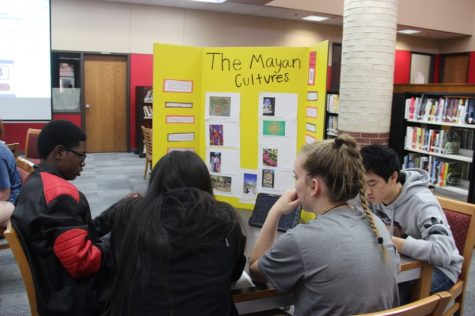 During Coppell High School teacher and coach Coach Nick Benton's third period World Geography class on Tuesday, students are following along with a slideshow regarding the Mayan culture that students have been learning for a few weeks.