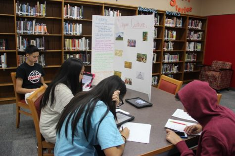 During third period on Tuesday, Coppell High School freshman Vico Moya and his group follow along with a slideshow over the Mayan culture in CHS coach Nick Benton's third period Geography class. Students worked on poster boards about the Mayan culture before thanksgiving break, and presented their projects to their classmates.
