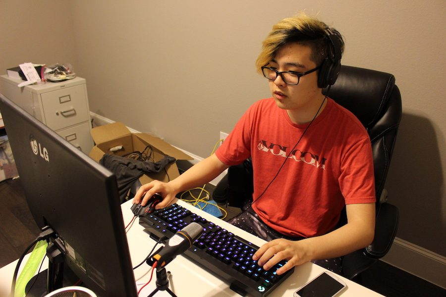 Coppell High School senior Andrew Yi plays League of Legends, an online battle arena game, on the afternoon of Dec. 12. Yi is one of many CHS students who play competitive video games to relax and have fun outside of school.