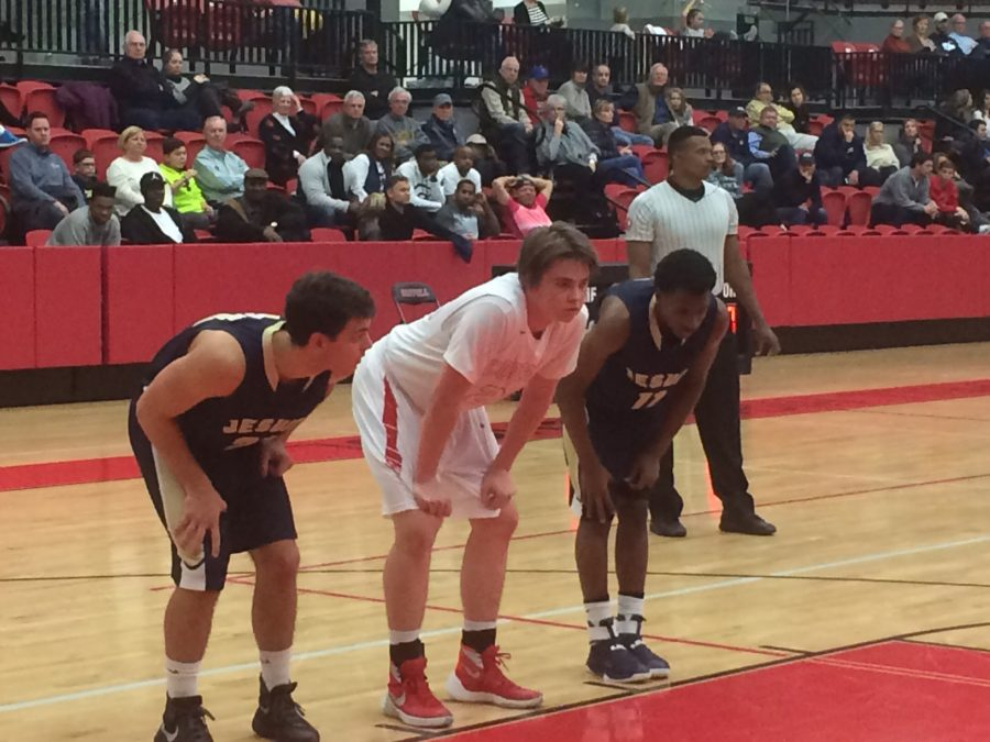 Senior+forward+Jackson+Solari+gets+set+before+a+free+throw+during+Coppell%27s+58-53+victory+over+Jesuit+on+Tuesday%2C+December+20.+Solari+had+his+best+game+of+the+year%2C+scoring+17+and+rebounding+well.