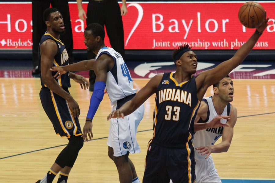Pacers center Myles Turner gets to the rim against the Mavs Salah Mejri in Dallas 111-103 win over Indiana. Turner recorded 18 points and six rebounds in the loss.