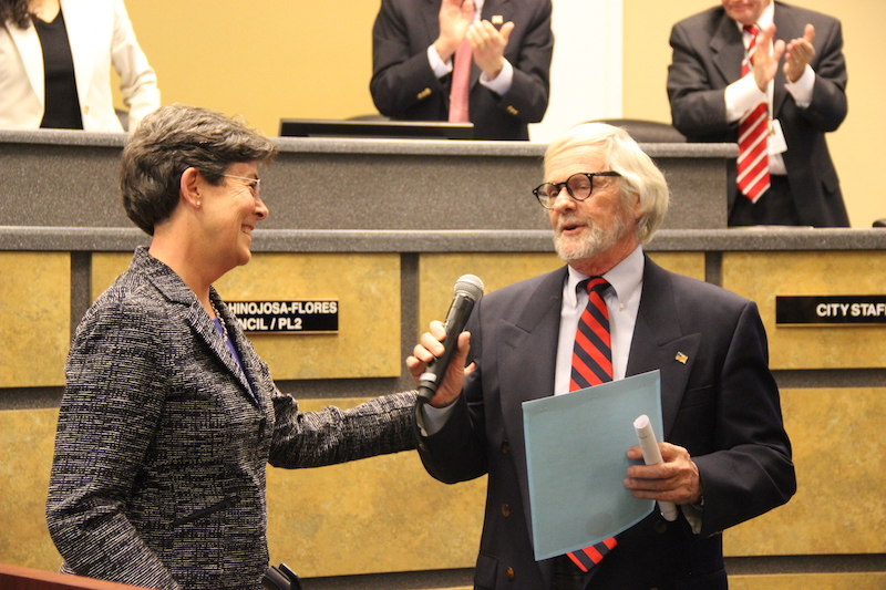 Coppell Mayor Karen Hunt gets approval from the City Council to name Jan. 24 Gary Sieb Appreciation Day last Tuesday at City Hall. Sieb is a 27-year tenured city contractor for Coppell. Photo by Hannah Tucker.