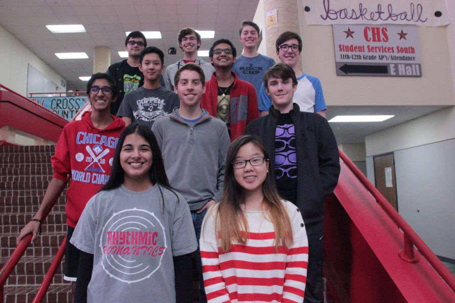 (From left to right) Top row: senior Bilal Haque (bass clarinet), junior Jonah Gordon (tenor saxophone), senior Kyle Whiting (Eb clarinet). Third Row: freshman Andrew Tao (percussion), junior Mihir Chadaga (english horn), senior John Bishop (percussion). Second Row: junior Ishan Vengurlekar (trumpet), junior Grant Knippa (trumpet), sophomore Trevor Holmes (Trumpet).Front Row: junior Ashna Pathan (clarinet) and senior Seoyon Lee (flute). These band members are preparing to travel to San Antonio for the Texas Music Educators Association (TMEA) Convention on Feb. 8-11. Each of them placed high enough to move on from the last round of the TMEA All State Process. Photo by Amelia Vanyo.