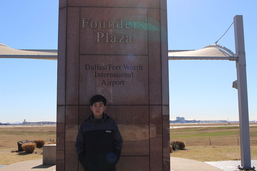 Coppell High School junior Sangjun Lee watches planes depart from and arrive at Dallas Fort Worth Airport from DFW Founders' Plaza. Lee has been interested in becoming a pilot from a young age due to his grandfather's experience in the Vietnam War living behind the air base. He was able to run simulations of flying planes as a kid and has continued his interest by spending time researching planes.