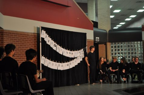"Coppell High School's Broadway Bound theater class waits for its show, ""30 Plays in 60 Minutes"", to start on Friday night in the CHS commons. The show is a mixture of skit comedy and improvisation in which the class performs 30 skits in one hour. Photo by Lili Lomas."