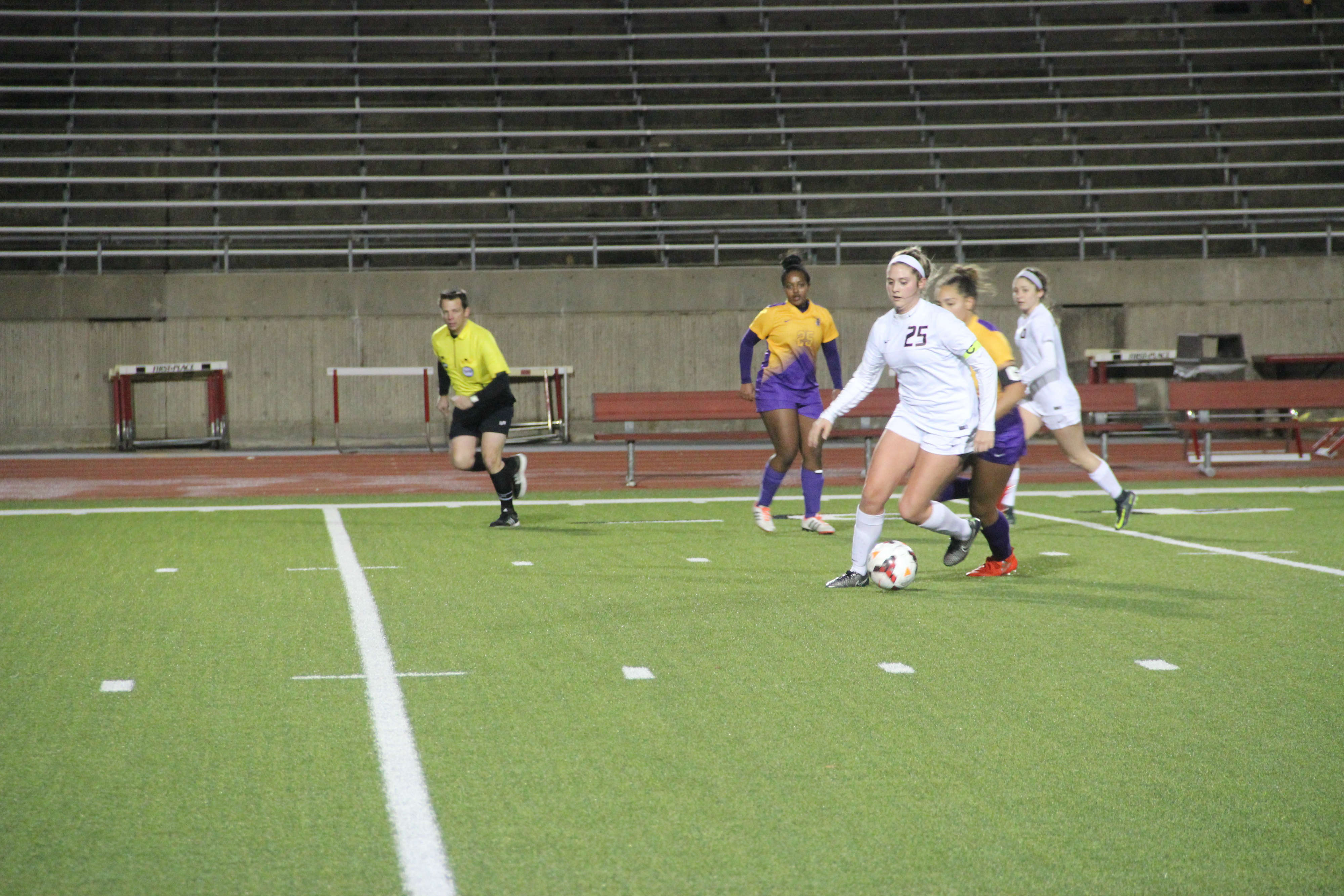 Coppell junior forward and Arkansas commit Tyler Runnels possesses the ball in the Cowgirls 5-0 win over Richardson on Tuesday night. The Cowgirls extended their winning streak to 13. Photo by Chloe Navarro.