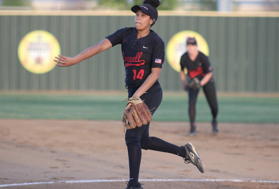 Coppell High School sophomore pitcher  Nora Rodriguez pitches during  Friday night's game at the Coppell ISD Baseball/Softball Complex. The Coppell girls softball team won, 15-0, over the Skyline Lady Raiders. Photo by Hannah Tucker.
