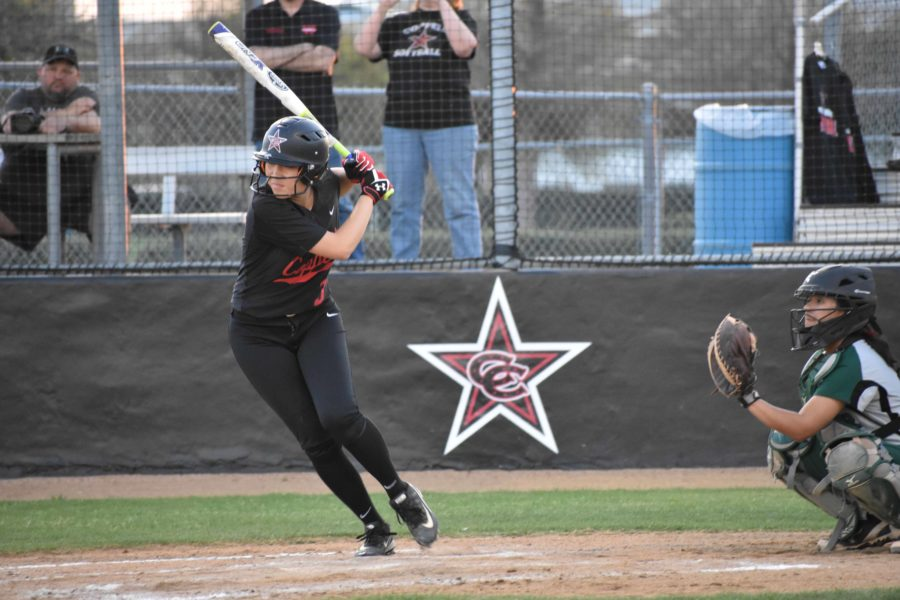 Coppell High School senior outfielder Mia Hermans bats in the second inning against Richardson Berkner on Tuesday night. The Cowgirls defeated Berkner, 16-1, in four innings due to the mercy rule at the CISD Baseball/Softball Complex. Photo by Ale Ceniceros.