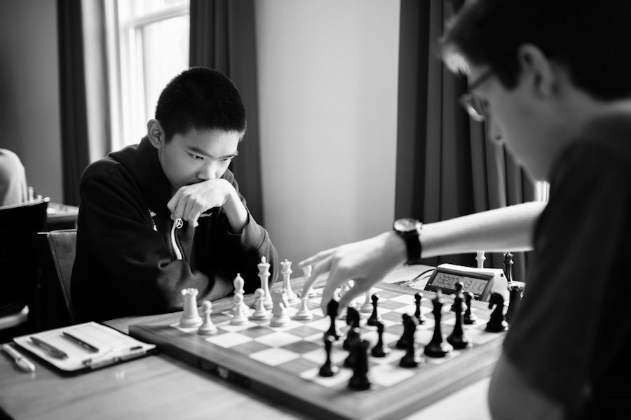 Former Coppell Middle School North student Jeffery Xiong studies the board and calculates his next move at the 2016 U.S. Junior which he won. Xiong is competing in the 2017 U.S. Chess Championship from March 27 -April 10 in St. Louis.  Courtesy of the Saint Louis Chess Club.