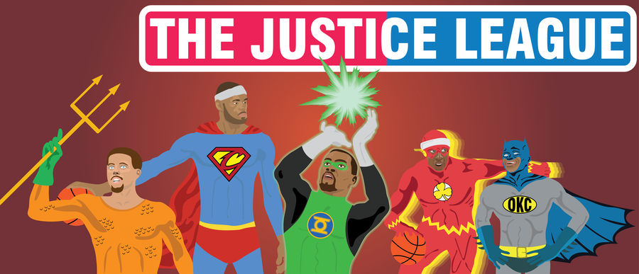 """(Left the right): Steph """"Aquaman"""" Curry, LeBron """"Superman"""" James, Kevin """"Green Lantern"""" Durant, Isaiah """"Flash"""" Thomas, Russell """"Batman"""" Westbrook. Lead by LeBron """"Superman"""" James, the Justice League: NBA will aim to save basketball using their wonderful and unique powers. Graphic by Thomas Rousseau."""