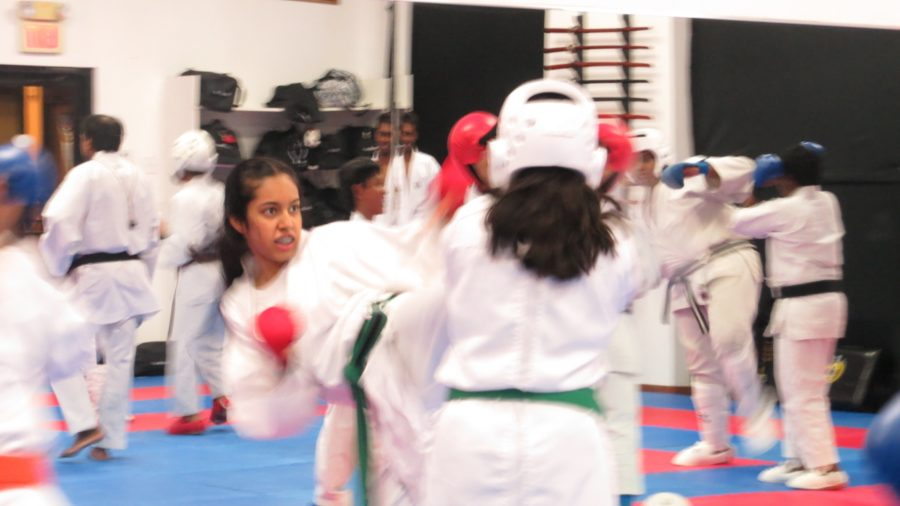 Coppell High School freshman Aditi Mutagi uses her left leg to attack her opponent in her karate class on Tuesday. She learned to embrace trying new things through her experiences practicing karate.