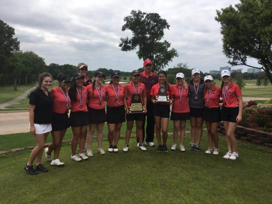 Both the Coppell Red and White teams advance to the 6A Region II tournament in Waco after finishing first and second place at the Sherrill Park Golf Course in Richardson. The Coppell Red team shot a combined 616, while the Coppell White team shot a 741. Photo Courtesy Terry Galbraith.