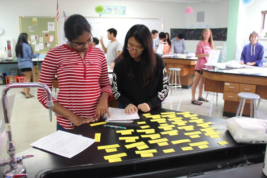 Coppell+High+School+sophomore+Mahima+Vemuri+%28left%29+and+junior+Sarah+Low+%28right%29+play+a+review+game+they+created+during+Jennifer+Martin%E2%80%99s+fourth+period+AP+Biology+class+on+Friday.+Students+are+preparing+for+their+upcoming+final+exam.%0A