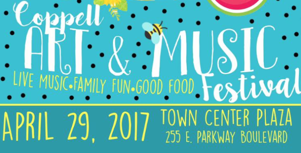 This Saturday is the second annual Coppell Arts and Music festival organized by CHS juniors and seniors in the International Baccalaureate academic program. The event will feature live music, food trucks, raffles and many more activities in the Coppell Town Center Plaza from 1-5 pm. Graphic courtesy Lauren Harris.