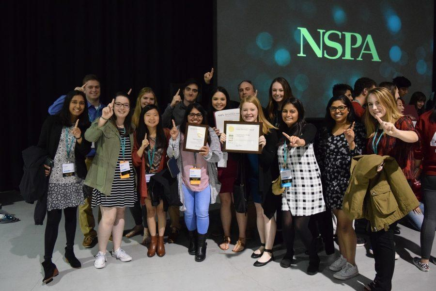 Members of The Sidekick who traveled to Seattle for the 2017 JEA/NSPA National High School Journalism Convention celebrate their NSPA Online Pacemaker, the highest honor in high school journalism. This is the first time in its history The Sidekick has ever won a Pacemaker. Photo by Round-Up Yearbook adviser Sallyanne Harris.