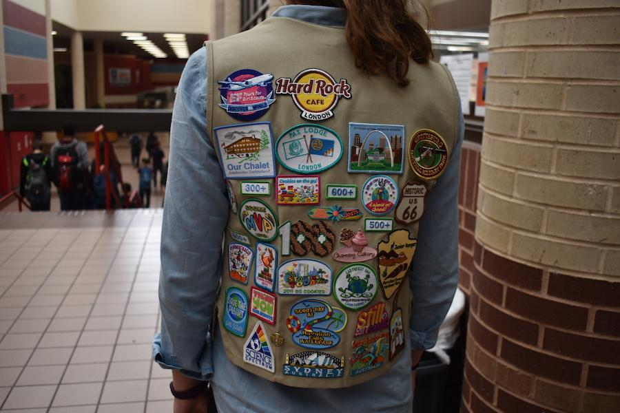 Coppell High School senior Nicole Rewerts wears her Girl Scouts vest and displays all her earned badges. Rewerts has been a part of Girl Scouts for nine years and will finish her last year as a senior. Photo by Jessica Jun.