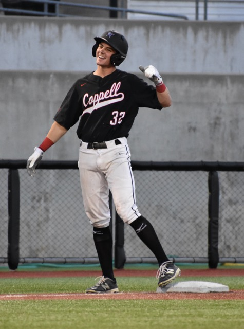 Coppell+High+School+senior+Cody+Masters+celebrates+scoring+a+run+during+the+first+inning+of+Friday+night%27s+game+against+the+Naaman+Forest+Rangers.+Coppell+defeated+the+Rangers+16-1+at+the+AirHogs+Stadium+to+move+on+to+the+next+round+of+playoffs.