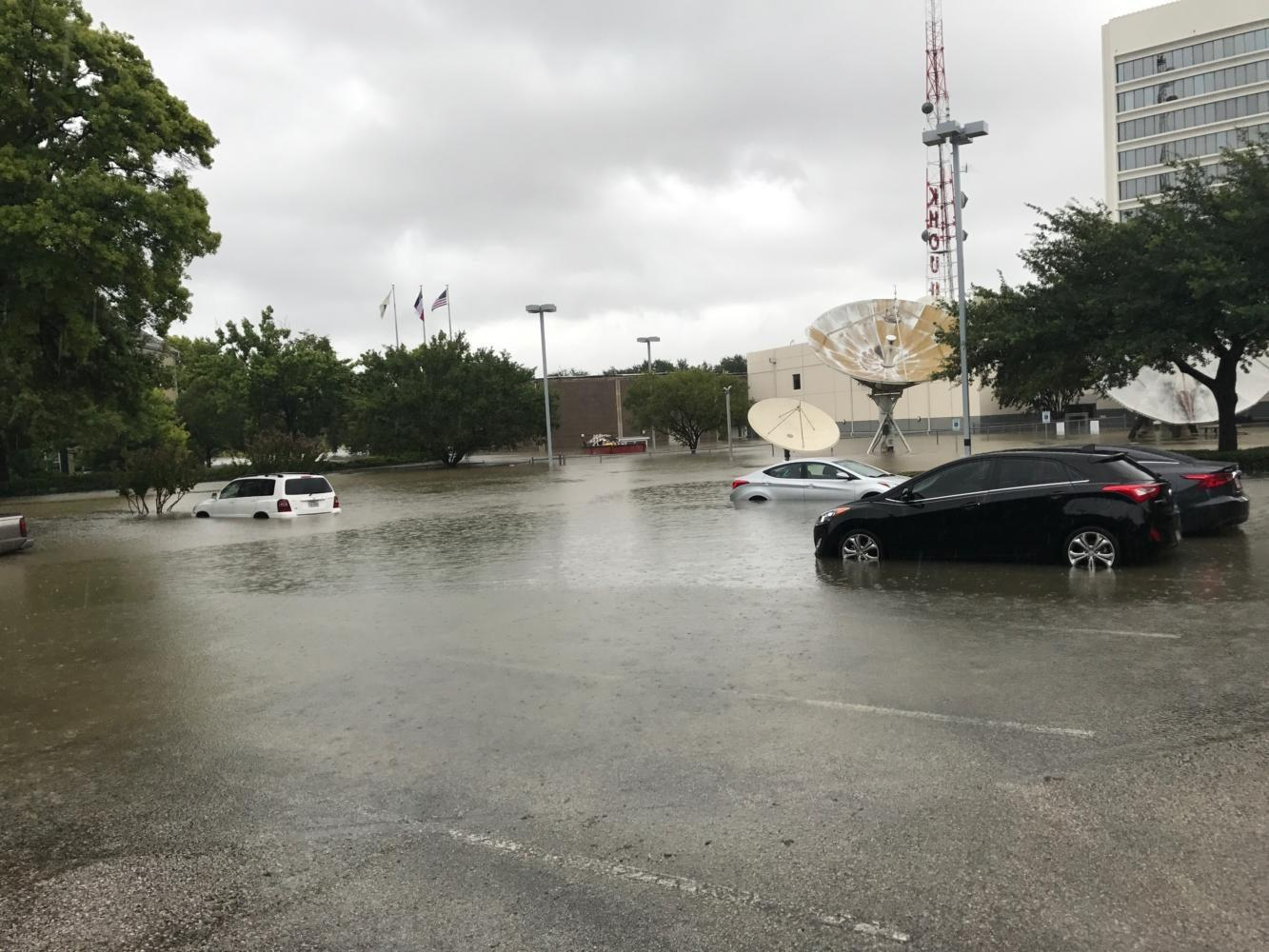 Cars on Allen Parkway at Studemont Street are submerged in water due to flooding caused by Hurricane Harvey. Allen Parkway was hit particularly hard due to its proximity to downtown Houston.