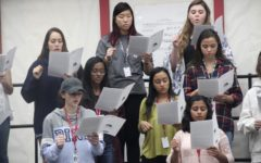 During fourth period, Coppell High School choir students in Acappella Mix Music are practicing solfege as they follow Choir director Bona Coogle. Students are divided by vocal range such as sopranos, altos, tenors and basses.