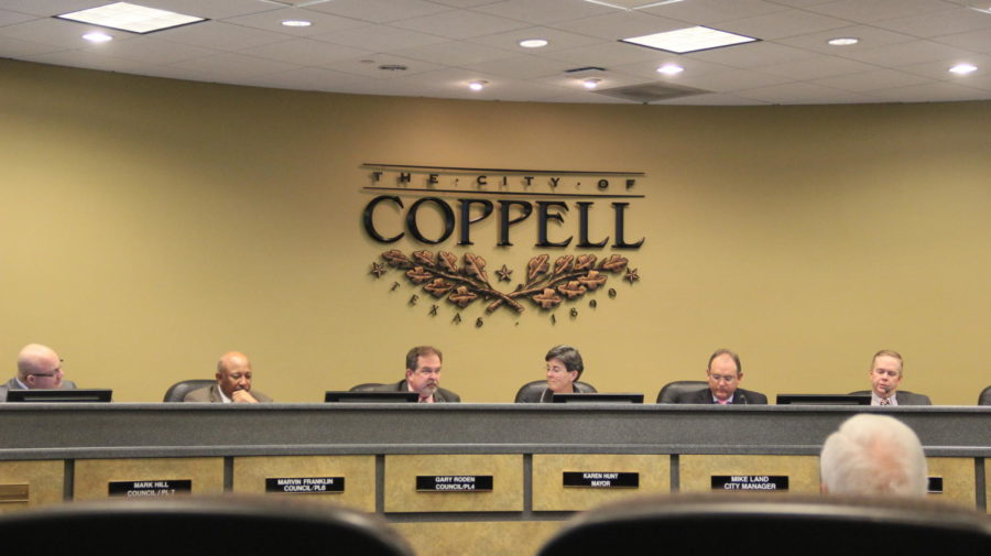 The Coppell City Council discusses upcoming events in the Coppell community at its meeting on Tuesday at Town Center. The council agreed to move forward with a plan to construct a new arts center in Coppell, in addition to warning citizens about a company wrongfully claiming to represent the City of Coppell.
