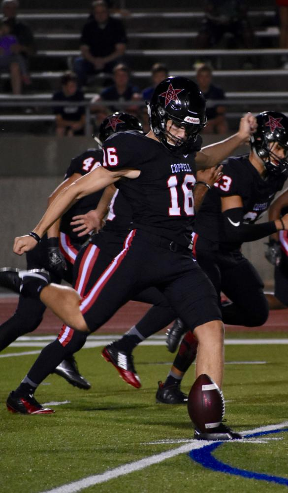 Coppell+High+School+junior+kicker+Caden+Davis+scores+a+field+goal+during+Friday+night%E2%80%99s+game+at+Buddy+Echols+Field.+The+Cowboys+defeated+the+Jesuit+Rangers%2C+63-41%2C+for+their+third+win+of+the+season.+